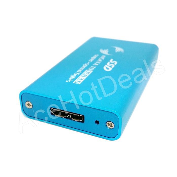 "mSATA SSD to USB 3.0 Metal Enclosure Case Adapter For 1.8/"" 5x3cm SSD w//Cable"