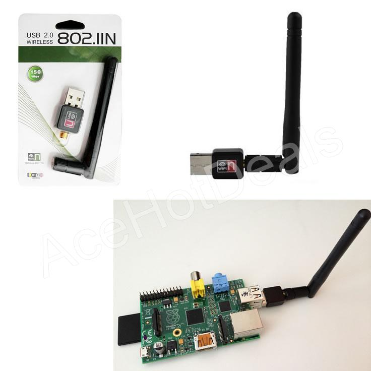 Details about 150M USB WiFi Wireless Adapter LAN w/Antenna Raspberry Pi 2  B+ ralink rt5370Chip
