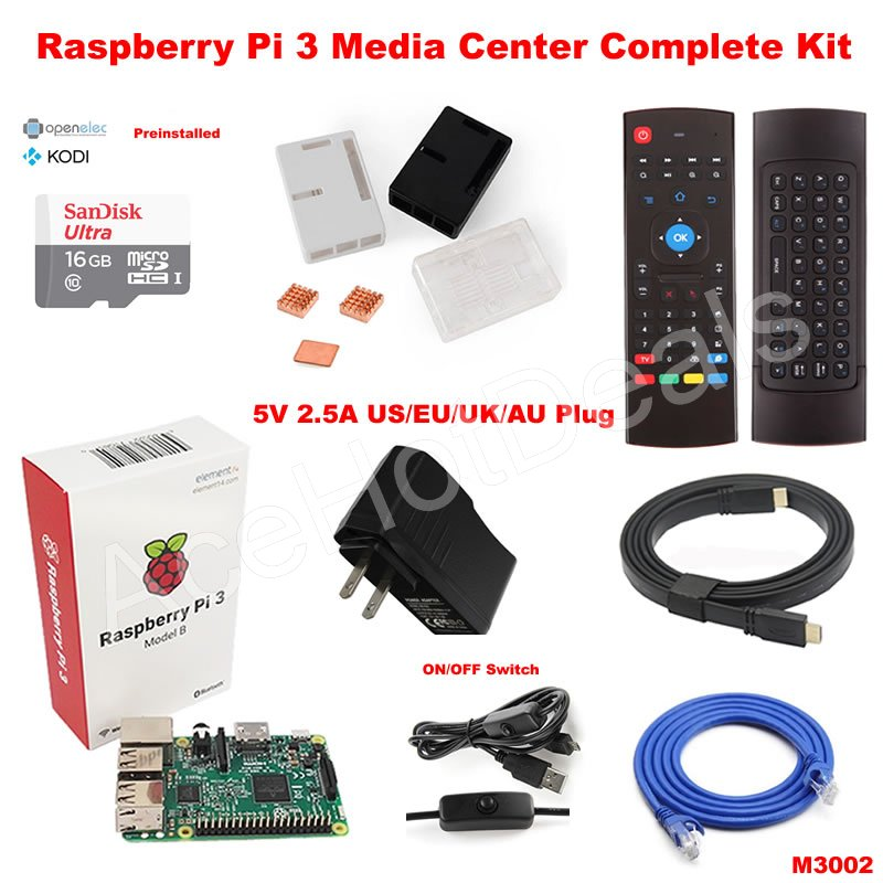 Details about Raspberry Pi 3 Model B wifi OSMC Media Center Complete Kit  M3002