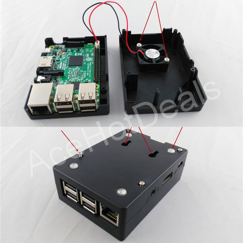Raspberry Pi 3 Model B 1g Wifi Heatsink Case Fan Starter